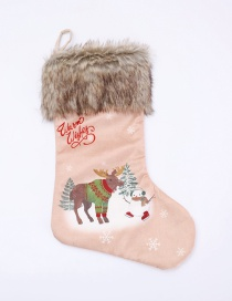 Fashion Light Pink Deer Pattern Decorated Christmas Sock