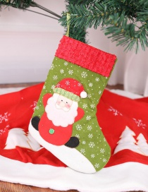 Fashion Red+green Santa Claus Pattern Decorated Christmas Sock