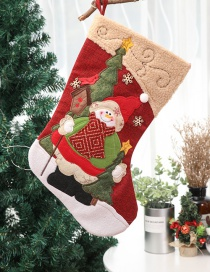 Fashion Multi-color Santa Claus Pattern Decorated Christmas Sock