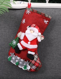 Fashion Red Santa Claus Pattern Decorated Christmas Sock