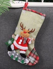 Fashion Green Deer Pattern Decorated Christmas Sock