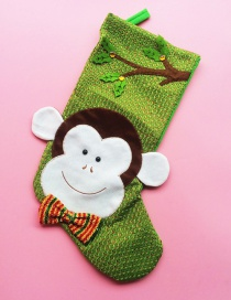 Fashion Green Monkey Pattern Decorated Christmas Sock