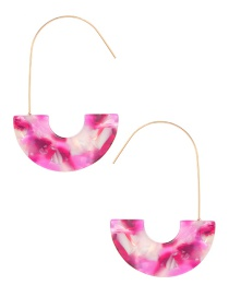 Fashion Pink U Shape Decorated Earrings