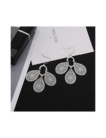 Fashion Silver Color Hollow Put Design Pure Color Earrings