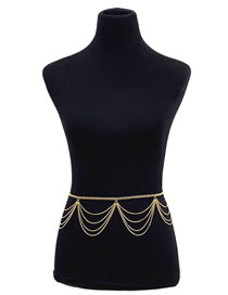 Simple Gold Color Pure Color Decorated Body Chain