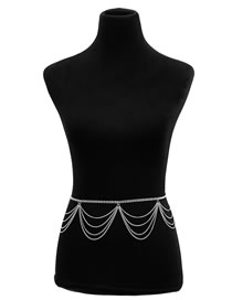 Simple Silver Color Pure Color Decorated Body Chain