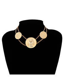 Vintage Gold Color Round Coins Shape Decorated Necklace