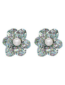 Simple Multi-color Flower Shape Decorated Earrings