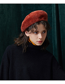 Fashion Dark Red Pure Color Decorated Berets