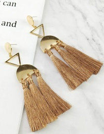 Fashion Coffee Tassel Decorated Pure Color Earrings