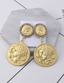 Vintage Gold Color Pure Color Decorated Earrings