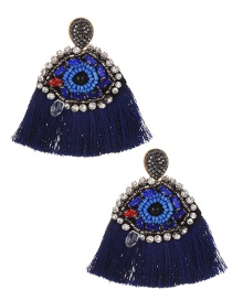 Fashion Navy Eye Shape Decorated Earrings