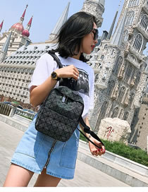 Fashion Black Square Pattern Decorated Backpack
