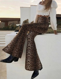 Fashion Brown Leopard Pattern Decorated Trouser
