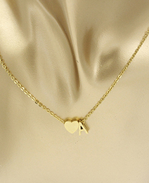 Simple Gold Color Letter A&heart Shape Decorated Necklace