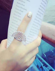 Fashion Silver Color Sector Shape Decorated Ring