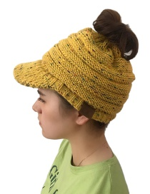 Fashion Yellow Label Decorated Hollow Out Knitted Hat