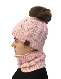 Fashion Pink Hollow Out Design Knitted Hat&scarf