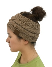 Fashion Khaki Hemp Flowers Shape Design Knitted Hat