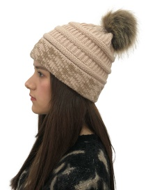 Fashion Beige Fuzzy Ball Decorated Knitted Hat