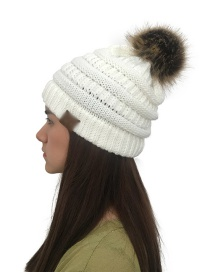 Fashion White Label&fuzzy Ball Decorated Knitted Hat