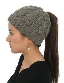 Fashion Dark Gray Pure Color Design Hemp Flowers Shape Hat