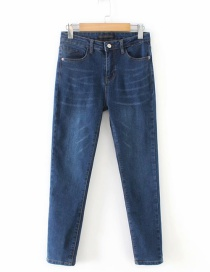 Fashion Blue Pure Color Design Simple Jeans
