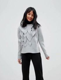 Fashion Gray Heart Shape Decorated Sweatshirt
