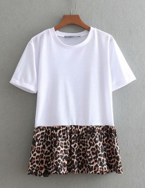 Fashion White Leopard Pattern Decorated T-shirt