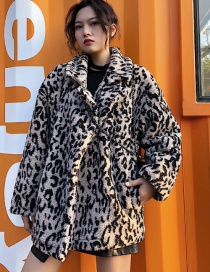 Fashion Khaki Leopard Pattern Decorated Coat