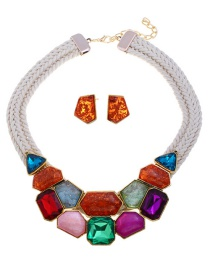 Fashion Multi-color Geometric Shape Decorated Jewelry Set