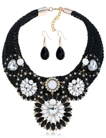 Fashion Black Flower Shape Decorated Jewelry Set