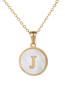 Fashion Gold Color Letter J Shape Decorated Necklace