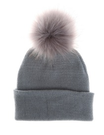 Fashion Gray Pom Ball Decorated Pure Color Hat