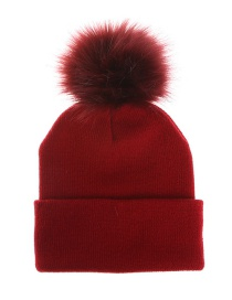 Fashion Claret Red Pom Ball Decorated Pure Color Hat