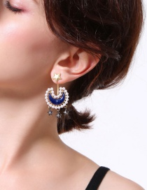 Fashion Blue Moon&star Shape Decorated Earrings