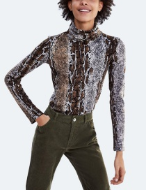 Fashion Brown+gray Snake Pattern Decorated Simple Shirt