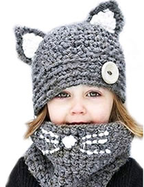 Lovely Navy Cat Ears Shape Design Child Knitted Hat(2pcs)