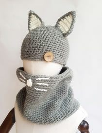 Lovely Gray Cat Ears Shape Design Child Knitted Hat(2pcs)