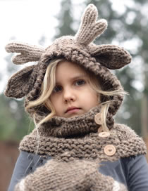 Lovely Dark Coffee Elk Horns Shape Design Child Knitted Hat(2pcs)
