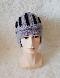 Lovely Gray+black Gladiator Shape Design Simple Knitted Hat