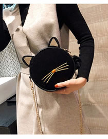 Fashion Black Cat Shape Design Pure Color Shoulder Bag
