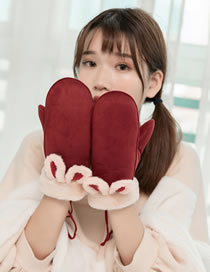 Fashion Claret Red Cartoon Ears Shape Decorated Warm Gloves