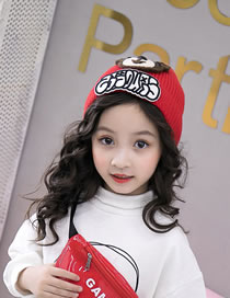 Fashion Red Bear Pattern Decorated Child Knitted Hat