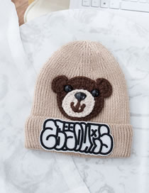 Fashion Beige Bear Pattern Decorated Child Knitted Hat