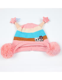 Fashion Pink Stripe Pattern Decorated Child Knitted Hat