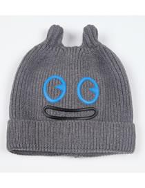 Fashion Light Gray Cartoon Pattern Design Pure Color Child Hat