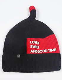 Fashion Black+red Letter Pattern Design Baby Knitted Hat