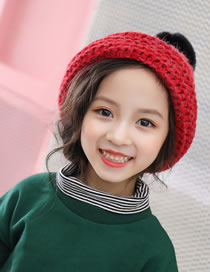 Fashion Plum Red Fuzzy Balls Decorated Child Knitted Hat