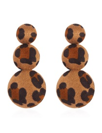 Elegant Brown Round Shape Decorated Long Earrings